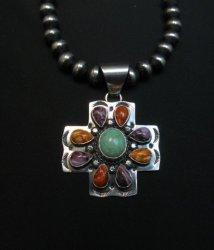 Navajo Turquoise Spiny Oyster Cross Pendant, Everett & Mary Teller