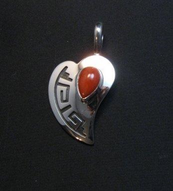 Image 0 of Navajo Silver Overlay Coral Heart Pendant, Everett & Mary Teller