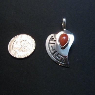 Image 2 of Navajo Silver Overlay Coral Heart Pendant, Everett & Mary Teller