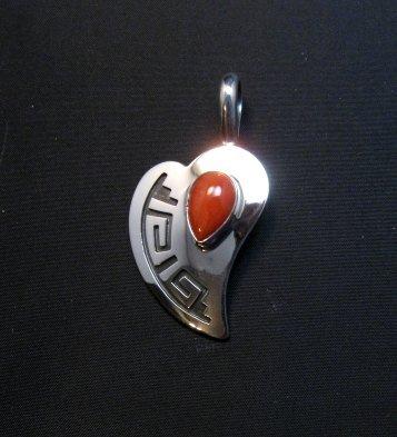 Image 3 of Navajo Silver Overlay Coral Heart Pendant, Everett & Mary Teller