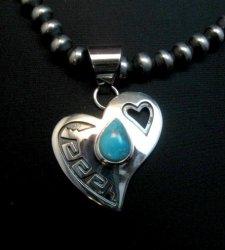 Navajo Silver Overlay Turquoise Heart Pendant, Everett & Mary Teller