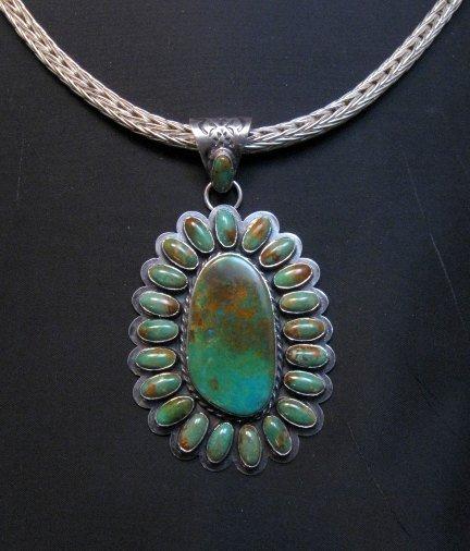Image 2 of Huge Navajo Royston Turquoise Silver Cluster Pendant, Travis Teller