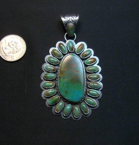 Image 1 of Huge Navajo Royston Turquoise Silver Cluster Pendant, Travis Teller