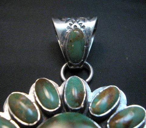 Image 3 of Huge Navajo Royston Turquoise Silver Cluster Pendant, Travis Teller