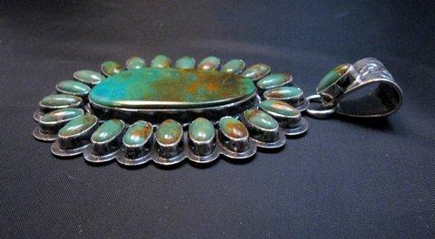 Image 4 of Huge Navajo Royston Turquoise Silver Cluster Pendant, Travis Teller