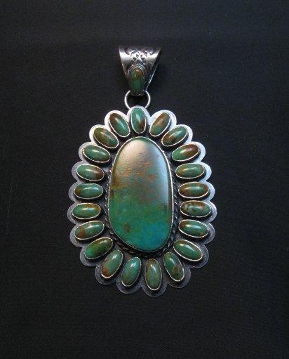 Image 6 of Huge Navajo Royston Turquoise Silver Cluster Pendant, Travis Teller