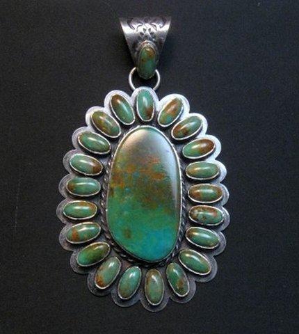 Image 0 of Huge Navajo Royston Turquoise Silver Cluster Pendant, Travis Teller