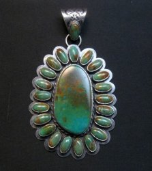 Huge Navajo Royston Turquoise Silver Cluster Pendant, Travis Teller