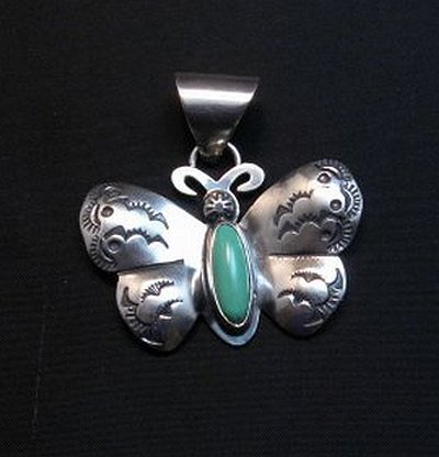 Image 0 of Everett and Mary Teller Kingman Turquoise Sterling Silver Butterfly Pendant
