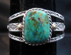 Navajo Kingman Turquoise 14K Gold Sterling Silver Bracelet, Travis Teller