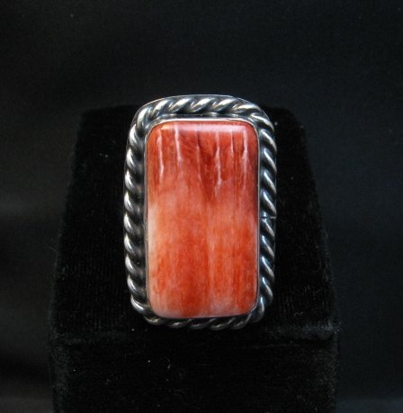Image 0 of Big Navajo Native American Spiny Oyster Ring Travis Teller sz9