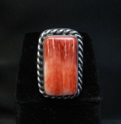 Big Navajo Native American Spiny Oyster Ring Travis Teller sz9