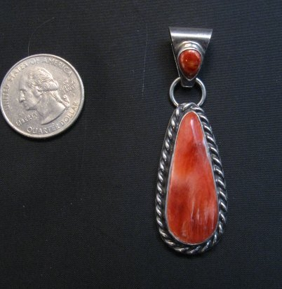 Image 3 of Navajo Native American Silver Spiny Oyster Pendant Travis Teller