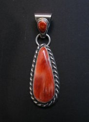 Navajo Native American Silver Spiny Oyster Pendant Travis Teller