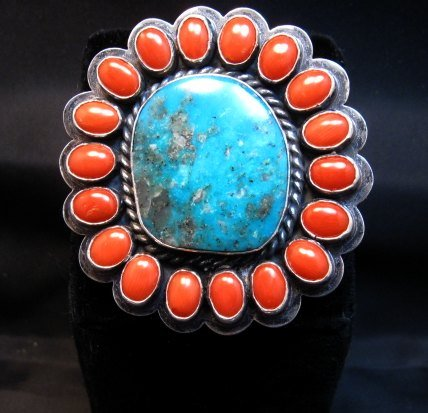 Image 5 of A++ Travis Teller Navajo Turquoise Coral Cluster Ring sz6 to sz8 adjustable