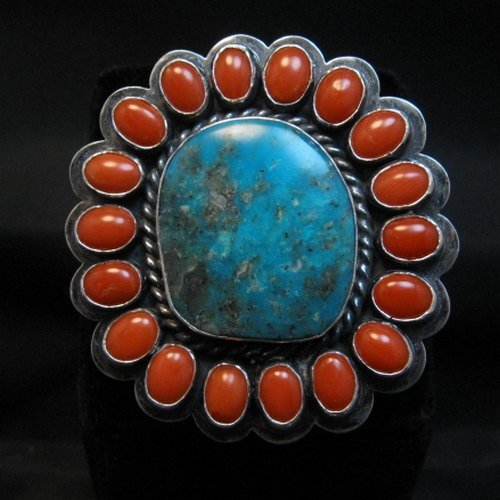 Image 0 of A++ Travis Teller Navajo Turquoise Coral Cluster Ring sz6 to sz8 adjustable