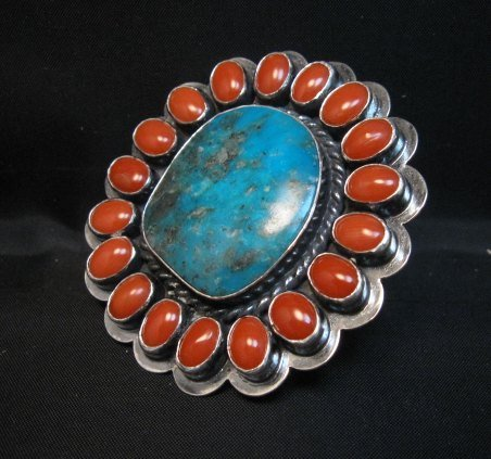 Image 1 of A++ Travis Teller Navajo Turquoise Coral Cluster Ring sz6 to sz8 adjustable