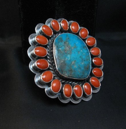 Image 2 of A++ Travis Teller Navajo Turquoise Coral Cluster Ring sz6 to sz8 adjustable
