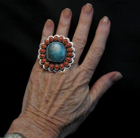Image 3 of A++ Travis Teller Navajo Turquoise Coral Cluster Ring sz6 to sz8 adjustable
