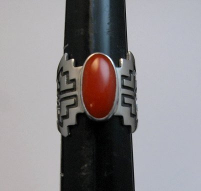 Image 0 of Coral Navajo Silver Overlay Ring, Everett and Mary Teller, sz7-1/2
