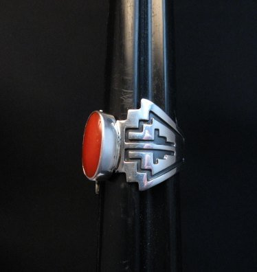 Image 1 of Coral Navajo Silver Overlay Ring, Everett and Mary Teller, sz7-1/2