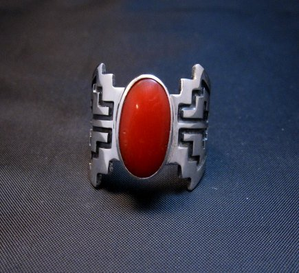 Image 2 of Coral Navajo Silver Overlay Ring, Everett and Mary Teller, sz7-1/2