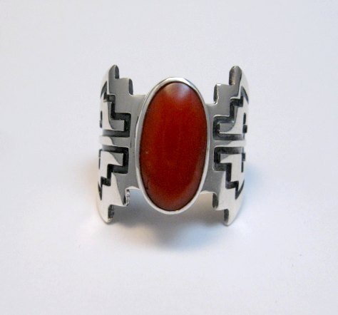 Image 3 of Coral Navajo Silver Overlay Ring, Everett and Mary Teller, sz7-1/2