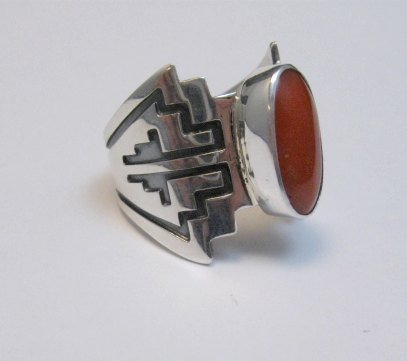 Image 4 of Coral Navajo Silver Overlay Ring, Everett and Mary Teller, sz7-1/2