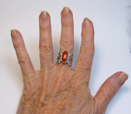 Image 5 of Coral Navajo Silver Overlay Ring, Everett and Mary Teller, sz7-1/2