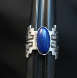 Lapis Navajo Sterling Silver Overlay Ring, Everett and Mary Teller, sz7
