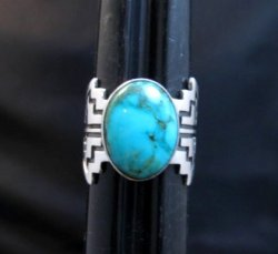 Turquoise Navajo Sterling Overlay Ring, Everett and Mary Teller, sz8-3/4