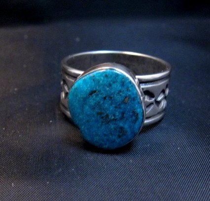 Image 3 of Navajo Native American Kingman Turquoise Ring, Travis Teller, sz11-3/4