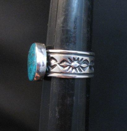 Image 1 of Navajo Native American Kingman Turquoise Ring, Travis Teller, sz11-3/4