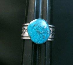 Navajo Native American Kingman Turquoise Ring, Travis Teller, sz11-3/4