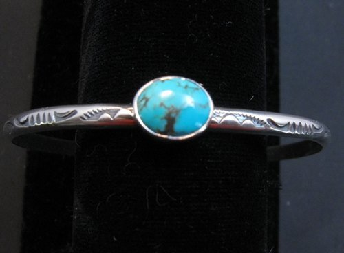 Image 0 of Navajo Turquoise Stamped Silver Stacker Cuff Bracelet, Travis Teller
