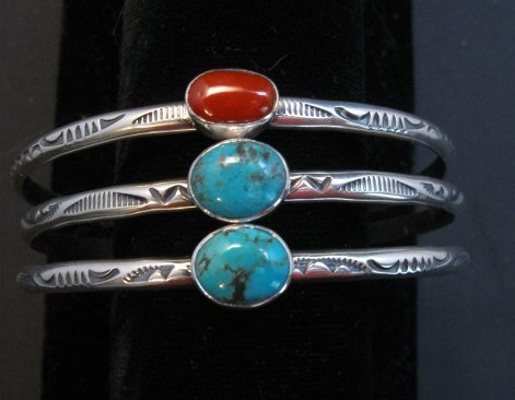 Image 2 of Navajo Turquoise Stamped S/S Stacker Cuff Bracelet, Travis Teller