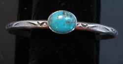 Navajo Turquoise Stamped S/S Stacker Cuff Bracelet, Travis Teller