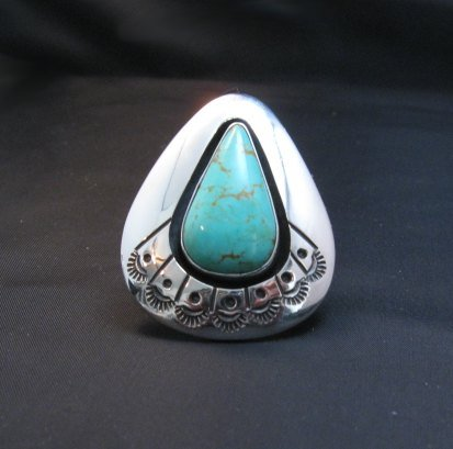 Image 0 of Navajo ~ Everett & Mary Teller ~ Shadowbox Turquoise Ring sz6 to sz8 adjustable