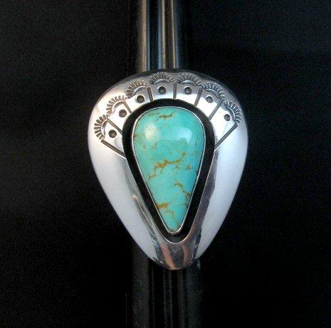 Image 1 of Navajo ~ Everett & Mary Teller ~ Shadowbox Turquoise Ring sz6 to sz8 adjustable