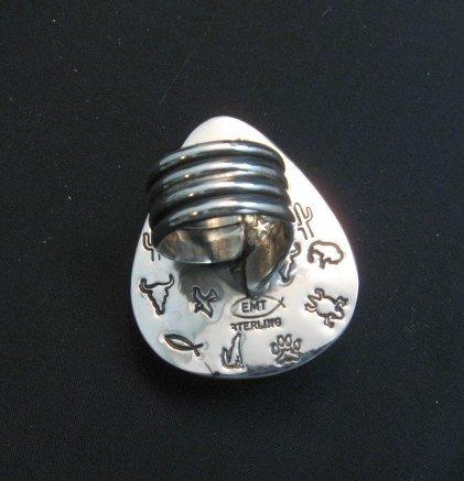 Image 3 of Navajo ~ Everett & Mary Teller ~ Shadowbox Turquoise Ring sz6 to sz8 adjustable