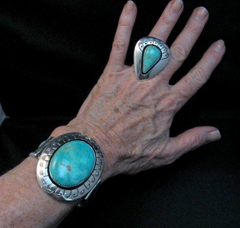 Image 7 of Navajo ~ Everett & Mary Teller ~ Shadowbox Turquoise Ring sz6 to sz8 adjustable