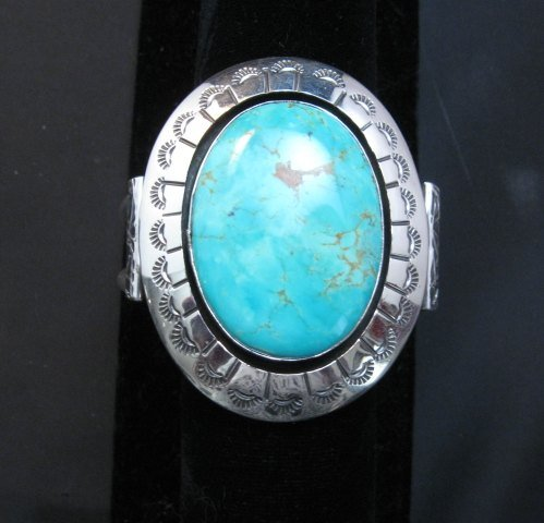 Image 10 of Navajo Turquoise Silver Shadowbox Bracelet, Everett and Mary Teller