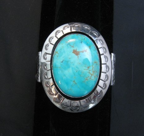 Image 0 of Navajo Turquoise Silver Shadowbox Bracelet, Everett and Mary Teller
