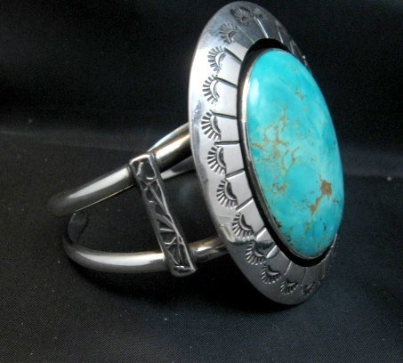 Image 1 of Navajo Turquoise Silver Shadowbox Bracelet, Everett and Mary Teller