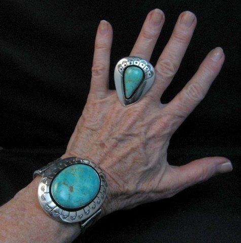 Image 2 of Navajo Turquoise Silver Shadowbox Bracelet, Everett and Mary Teller
