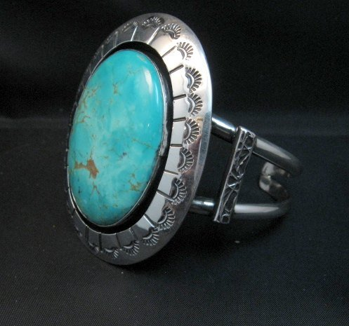 Image 4 of Navajo Turquoise Silver Shadowbox Bracelet, Everett and Mary Teller