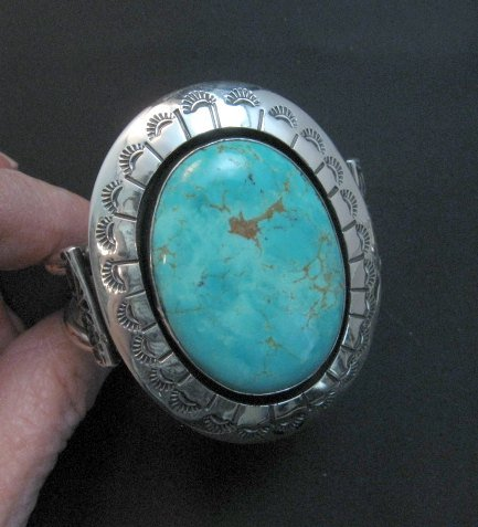 Image 5 of Navajo Turquoise Silver Shadowbox Bracelet, Everett and Mary Teller