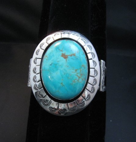 Image 6 of Navajo Turquoise Silver Shadowbox Bracelet, Everett and Mary Teller