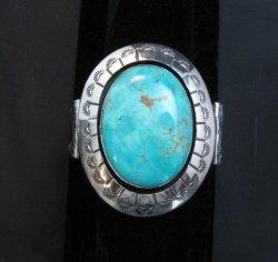 Navajo Turquoise Silver Shadowbox Bracelet, Everett and Mary Teller