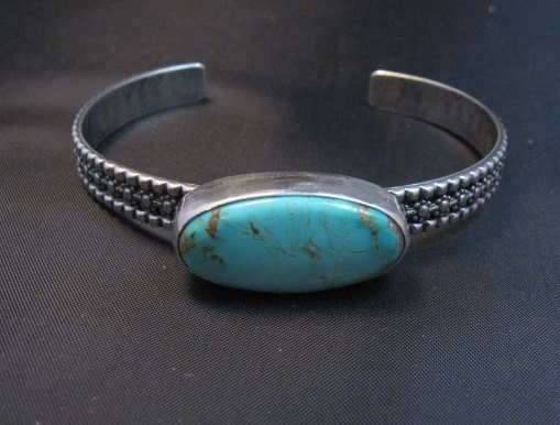 Image 1 of Navajo Turquoise Stacker Cuff Bracelet, Everett and Mary Teller